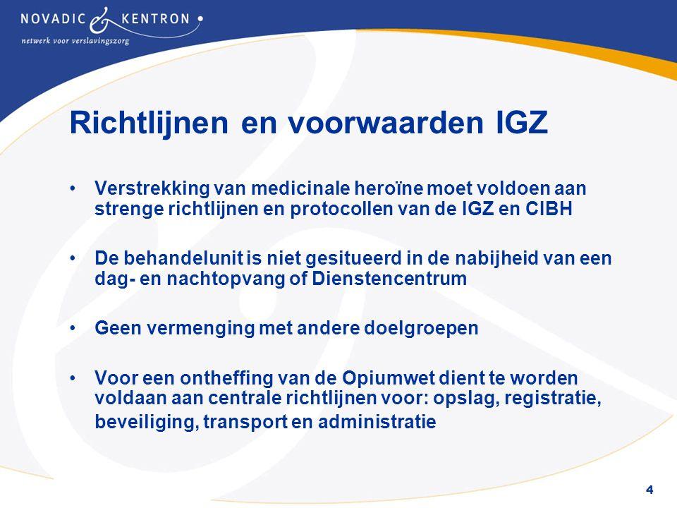 4 Richtlijnen en voorwaarden IGZ Verstrekking van medicinale heroïne moet voldoen aan strenge richtlijnen en protocollen van de IGZ en CIBH De behande