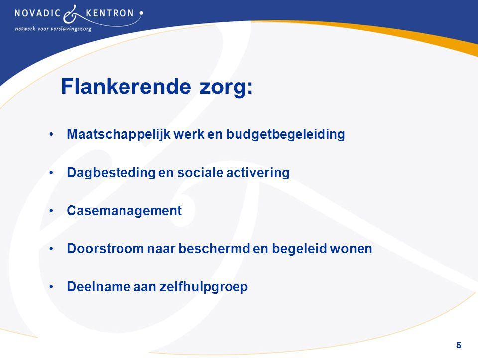 5 Flankerende zorg: Maatschappelijk werk en budgetbegeleiding Dagbesteding en sociale activering Casemanagement Doorstroom naar beschermd en begeleid