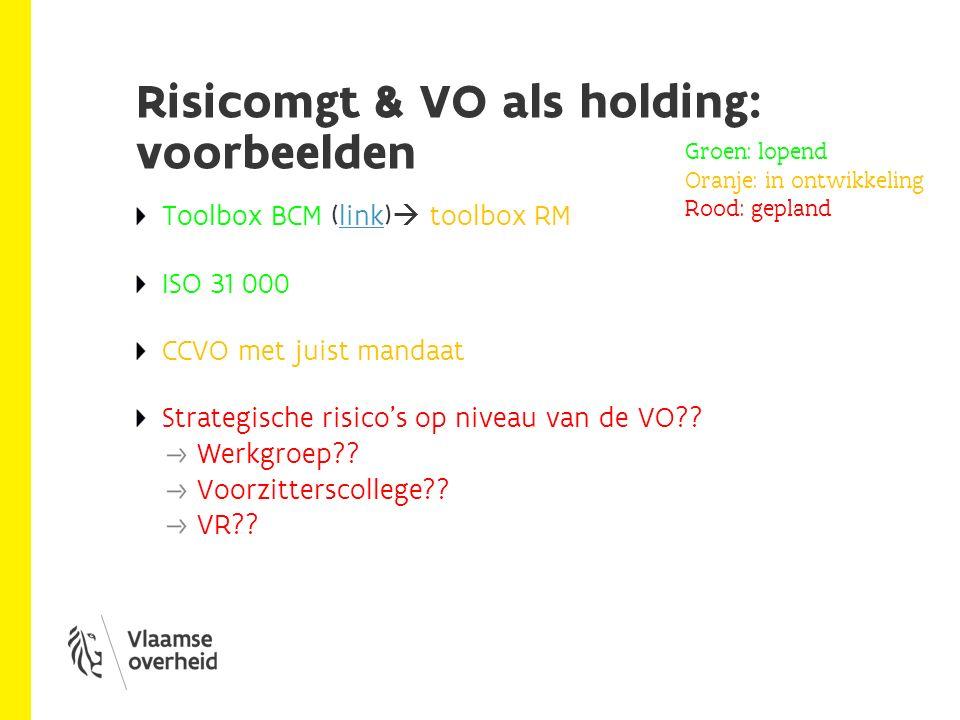 Risicomgt & VO als holding: voorbeelden Toolbox BCM (link)  toolbox RMlink ISO 31 000 CCVO met juist mandaat Strategische risico's op niveau van de VO .