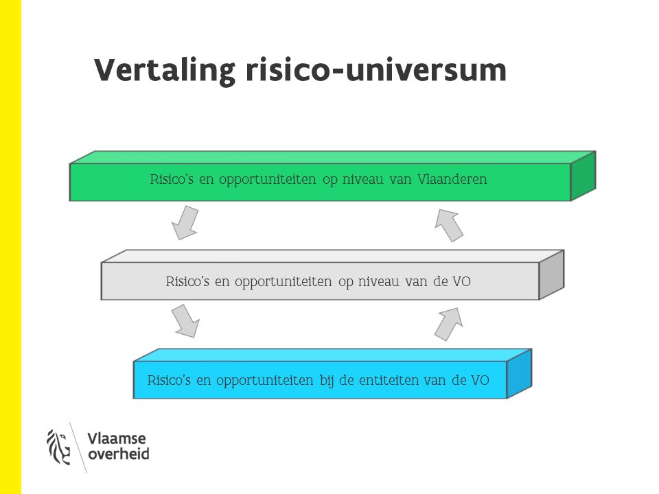 Risicomgt & entiteiten Risico's en opportuniteiten bij de entiteiten van de VO Wat: Risicomanagement voor de entiteiten van de VO op operationeel, tactisch & strategisch niveau (incl.