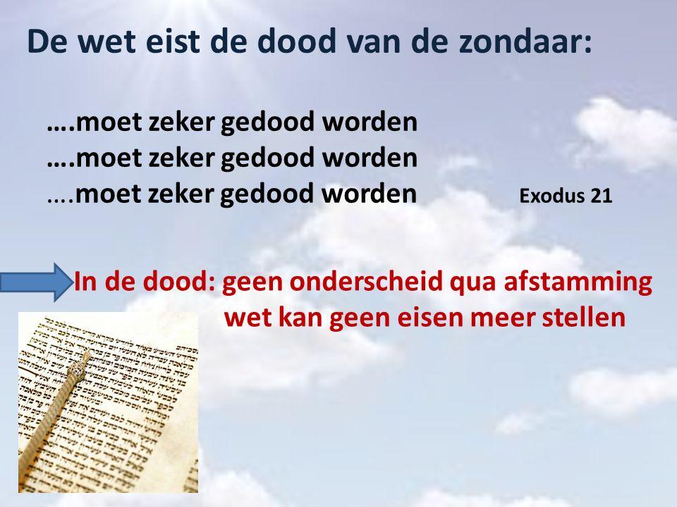 De wet eist de dood van de zondaar: ….moet zeker gedood worden ….moet zeker gedood worden ….moet zeker gedood worden Exodus 21 In de dood: geen onders