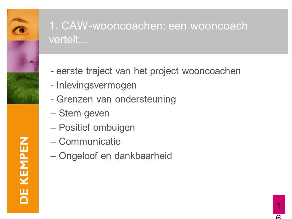 16 1. CAW-wooncoachen: een wooncoach vertelt... - eerste traject van het project wooncoachen - Inlevingsvermogen - Grenzen van ondersteuning – Stem ge