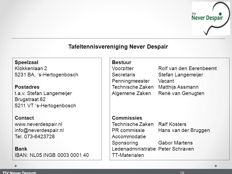 TTV Never Despair 18 Tafeltennisvereniging Never Despair Speelzaal Klokkenlaan 2 5231 BA, 's-Hertogenbosch Postadres t.a.v. Stefan Langemeijer Brugstr