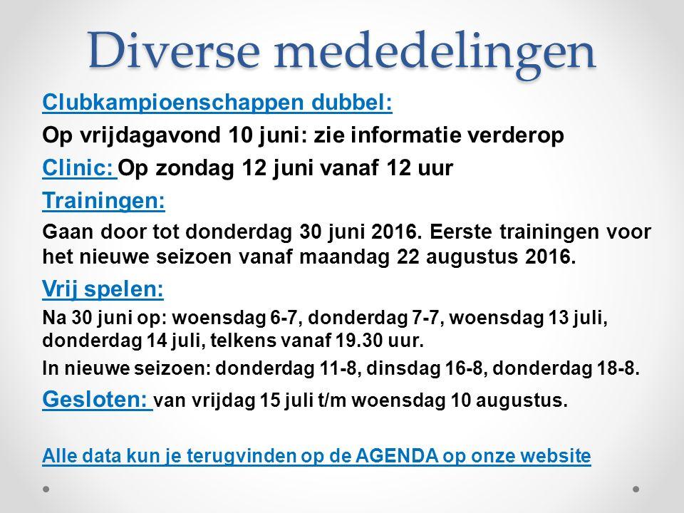 Clubkampioenschappen Dubbel Op vrijdagavond 10 juni 2016 gaan we de clubkampioenschappen dubbel organiseren.