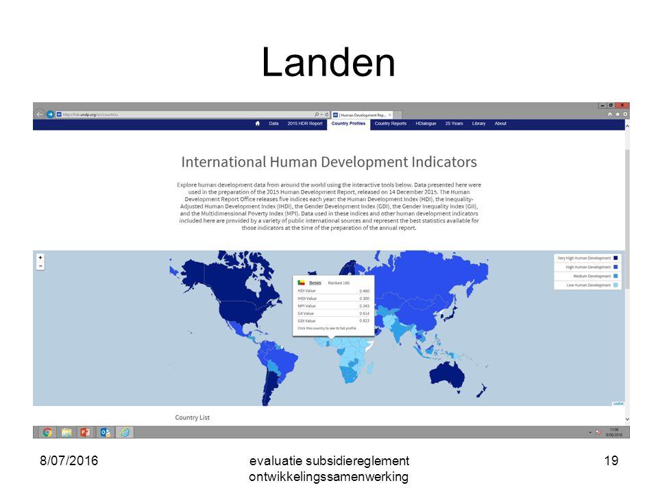 8/07/2016evaluatie subsidiereglement ontwikkelingssamenwerking 19 Landen