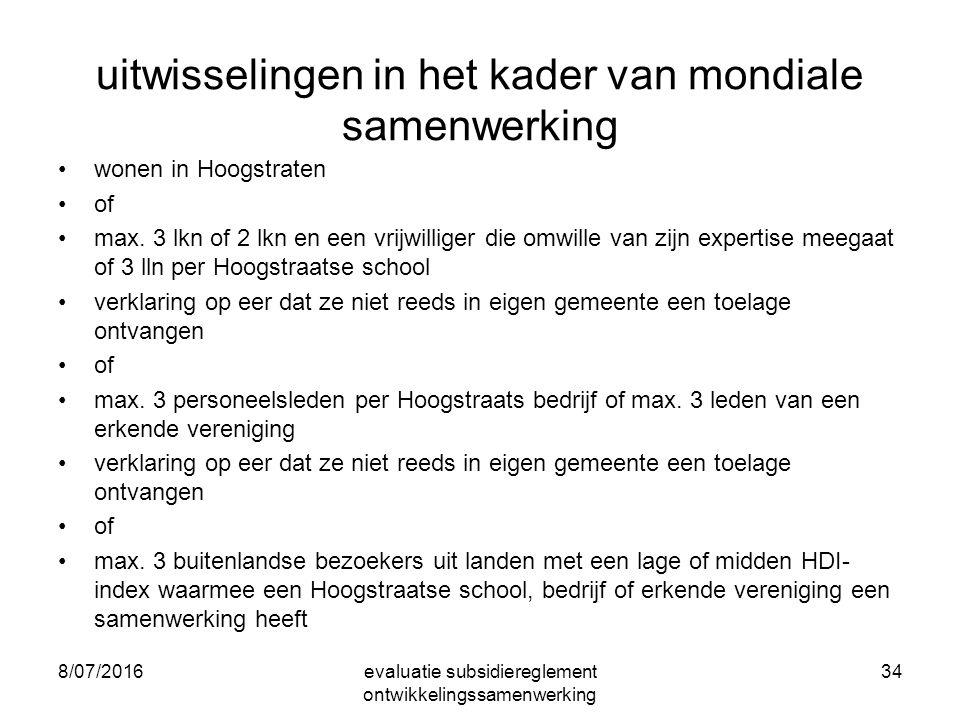 uitwisselingen in het kader van mondiale samenwerking wonen in Hoogstraten of max.