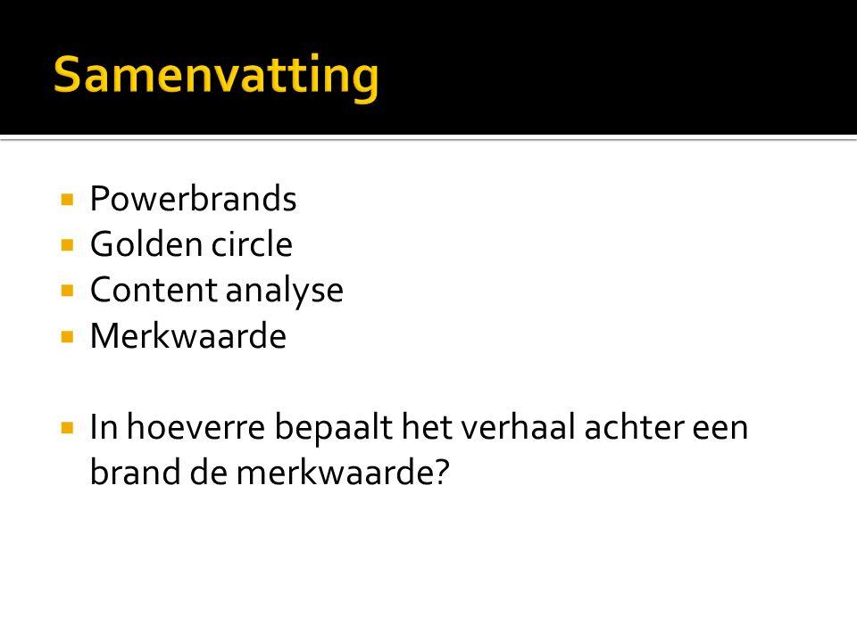  Powerbrands  Golden circle  Content analyse  Merkwaarde  In hoeverre bepaalt het verhaal achter een brand de merkwaarde?