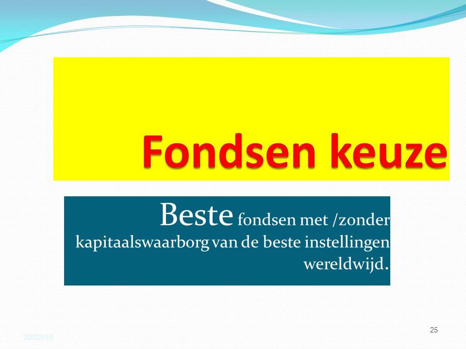 Beste fondsen met /zonder kapitaalswaarborg van de beste instellingen wereldwijd. 20/02/16 25