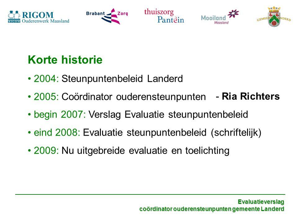 Korte historie 2004: Steunpuntenbeleid Landerd 2005: Coördinator ouderensteunpunten begin 2007: Verslag Evaluatie steunpuntenbeleid eind 2008: Evaluat