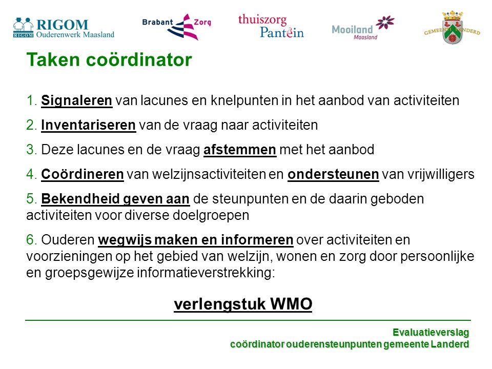 Evaluatieverslag coördinator ouderensteunpunten gemeente Landerd Taken coördinator 1.