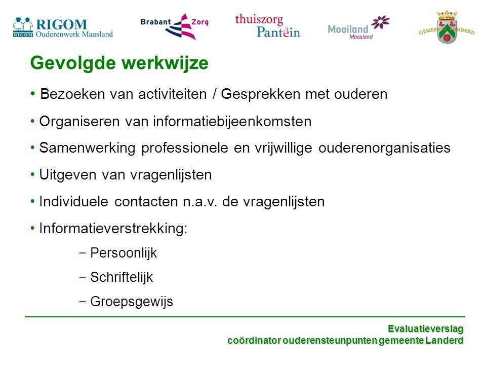 Evaluatieverslag coördinator ouderensteunpunten gemeente Landerd onder andere….