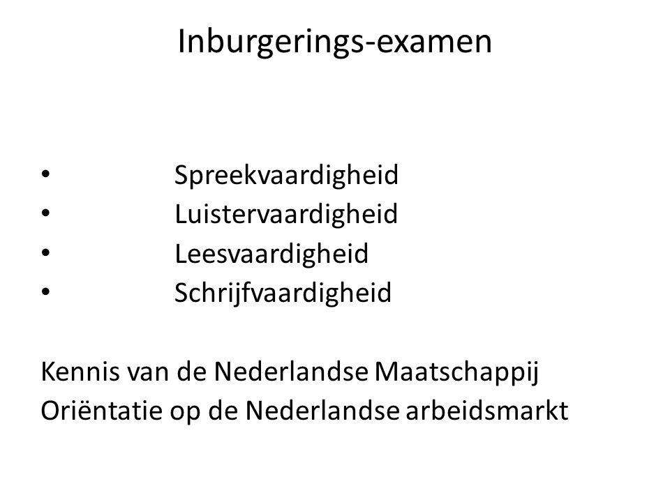 Inburgerings-examen Spreekvaardigheid Luistervaardigheid Leesvaardigheid Schrijfvaardigheid Kennis van de Nederlandse Maatschappij Oriëntatie op de Nederlandse arbeidsmarkt