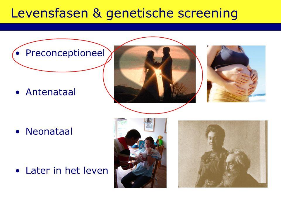 Levensfasen & genetische screening Preconceptioneel Antenataal Neonataal Later in het leven