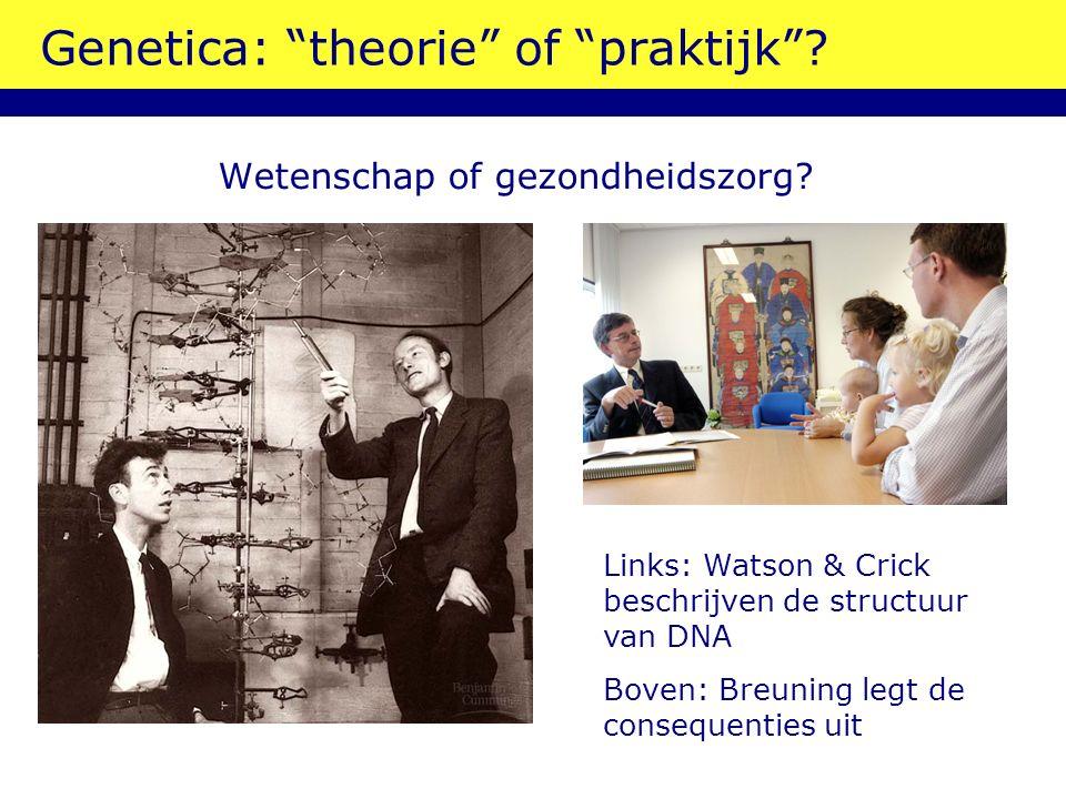 """Genetica: """"theorie"""" of """"praktijk""""? Wetenschap of gezondheidszorg? Links: Watson & Crick beschrijven de structuur van DNA Boven: Breuning legt de conse"""
