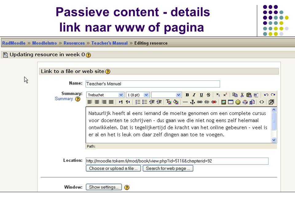 Passieve content - details link naar www of pagina