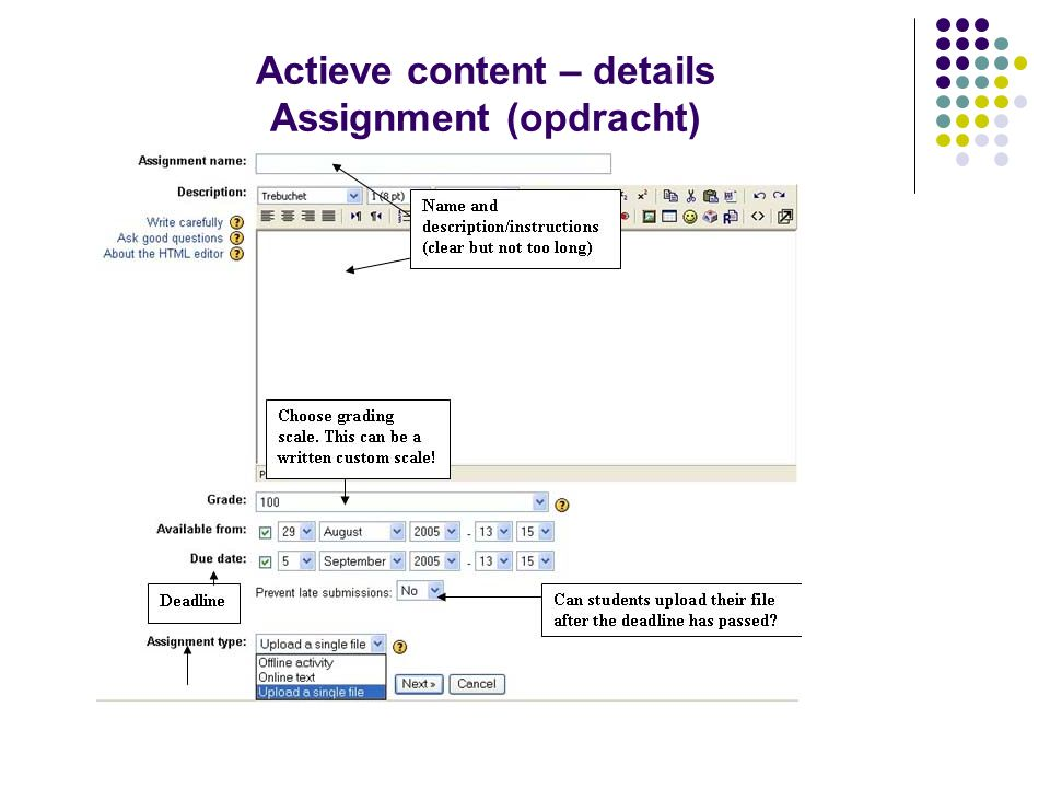 Actieve content – details Assignment (opdracht)