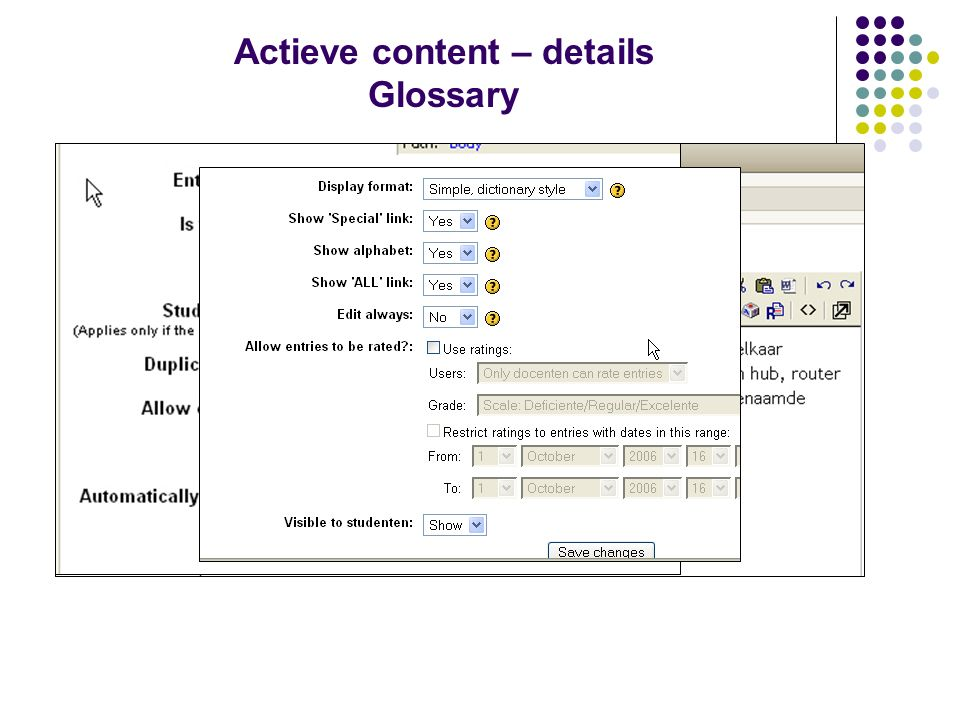 Actieve content – details Glossary