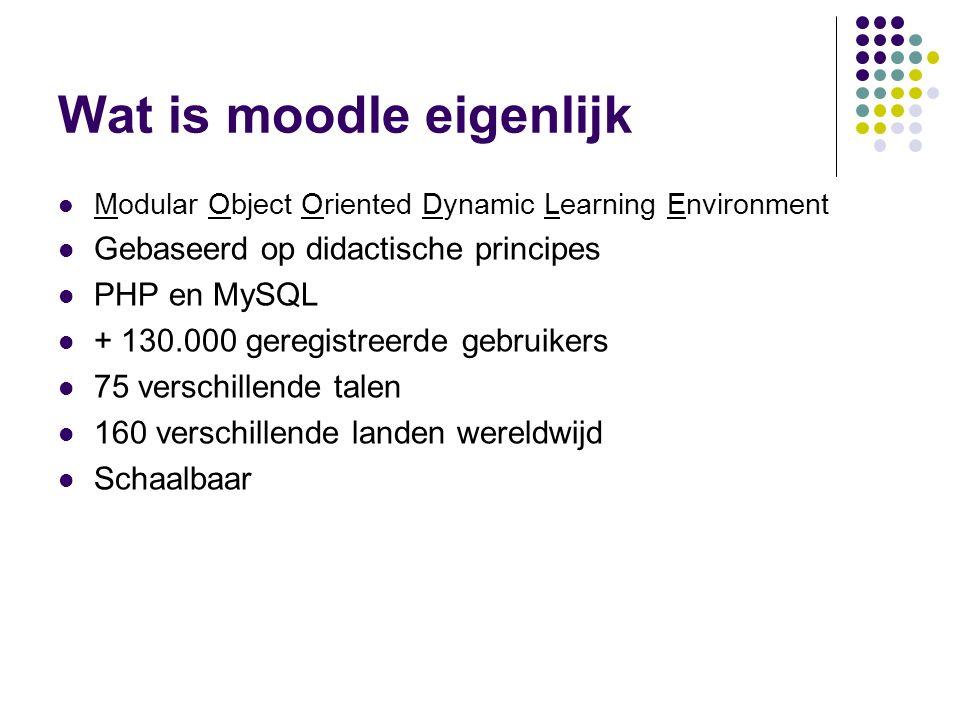 Wat is moodle eigenlijk Modular Object Oriented Dynamic Learning Environment Gebaseerd op didactische principes PHP en MySQL + 130.000 geregistreerde