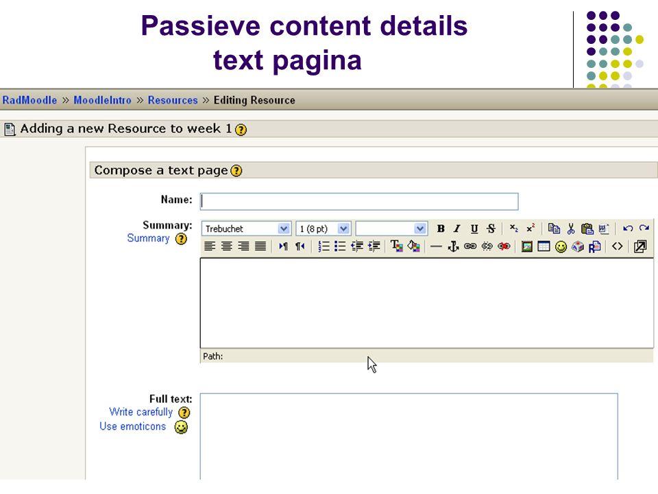 Passieve content – details webpagina