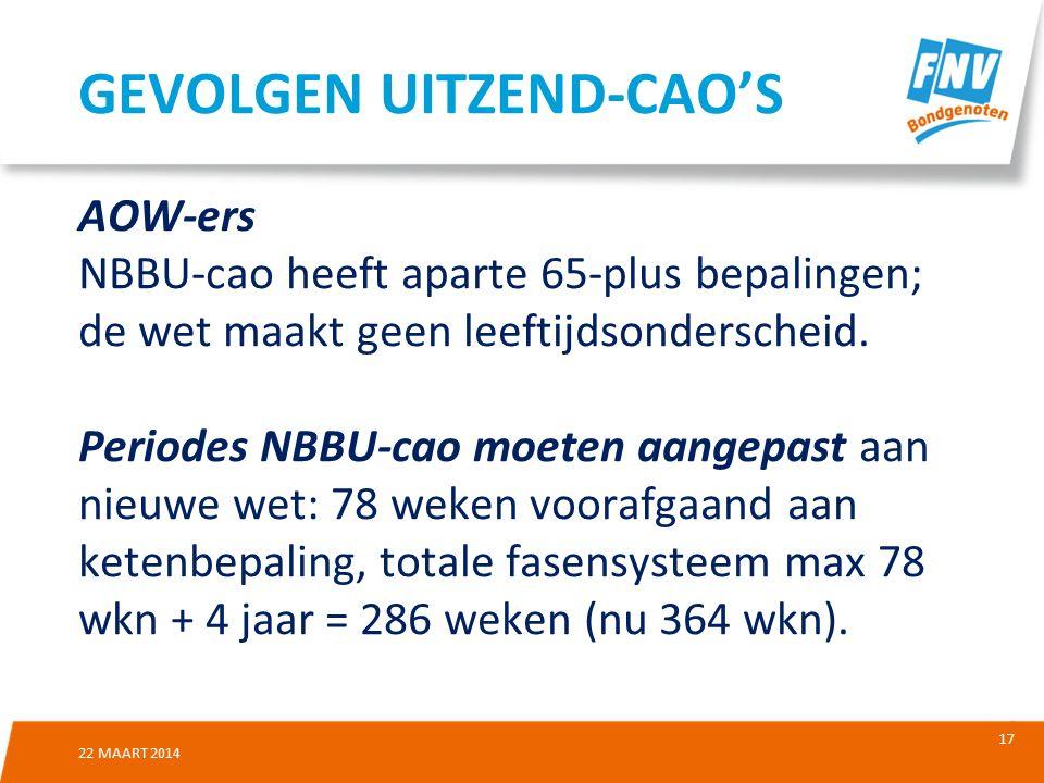 17 22 MAART 2014 AOW-ers NBBU-cao heeft aparte 65-plus bepalingen; de wet maakt geen leeftijdsonderscheid.