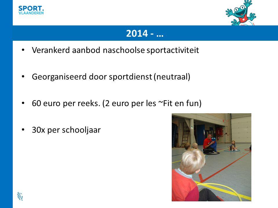 2014 - … Verankerd aanbod naschoolse sportactiviteit Georganiseerd door sportdienst (neutraal) 60 euro per reeks.