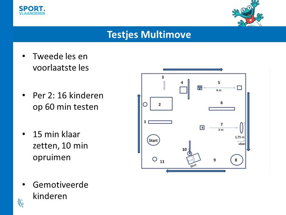 Testjes Multimove Tweede les en voorlaatste les Per 2: 16 kinderen op 60 min testen 15 min klaar zetten, 10 min opruimen Gemotiveerde kinderen