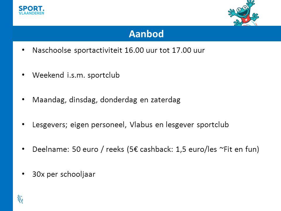 Aanbod Naschoolse sportactiviteit 16.00 uur tot 17.00 uur Weekend i.s.m.
