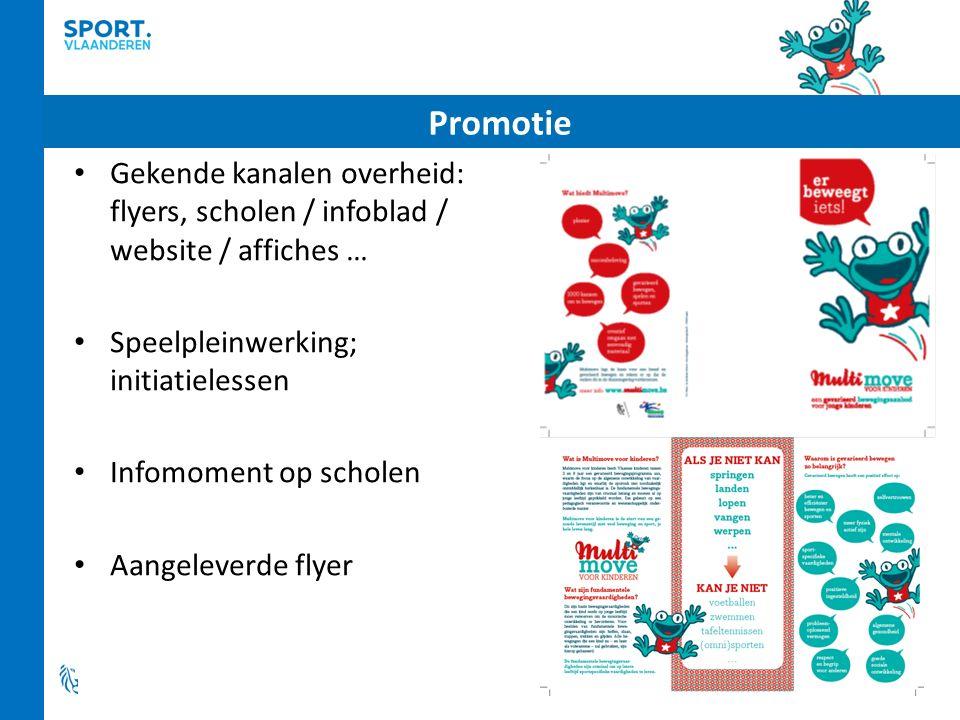 Gekende kanalen overheid: flyers, scholen / infoblad / website / affiches … Speelpleinwerking; initiatielessen Infomoment op scholen Aangeleverde flyer Promotie