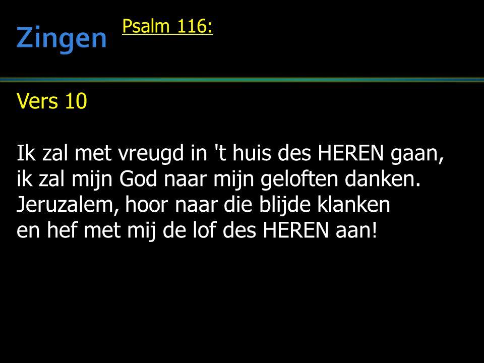 Vers 10 Ik zal met vreugd in 't huis des HEREN gaan, ik zal mijn God naar mijn geloften danken. Jeruzalem, hoor naar die blijde klanken en hef met mij