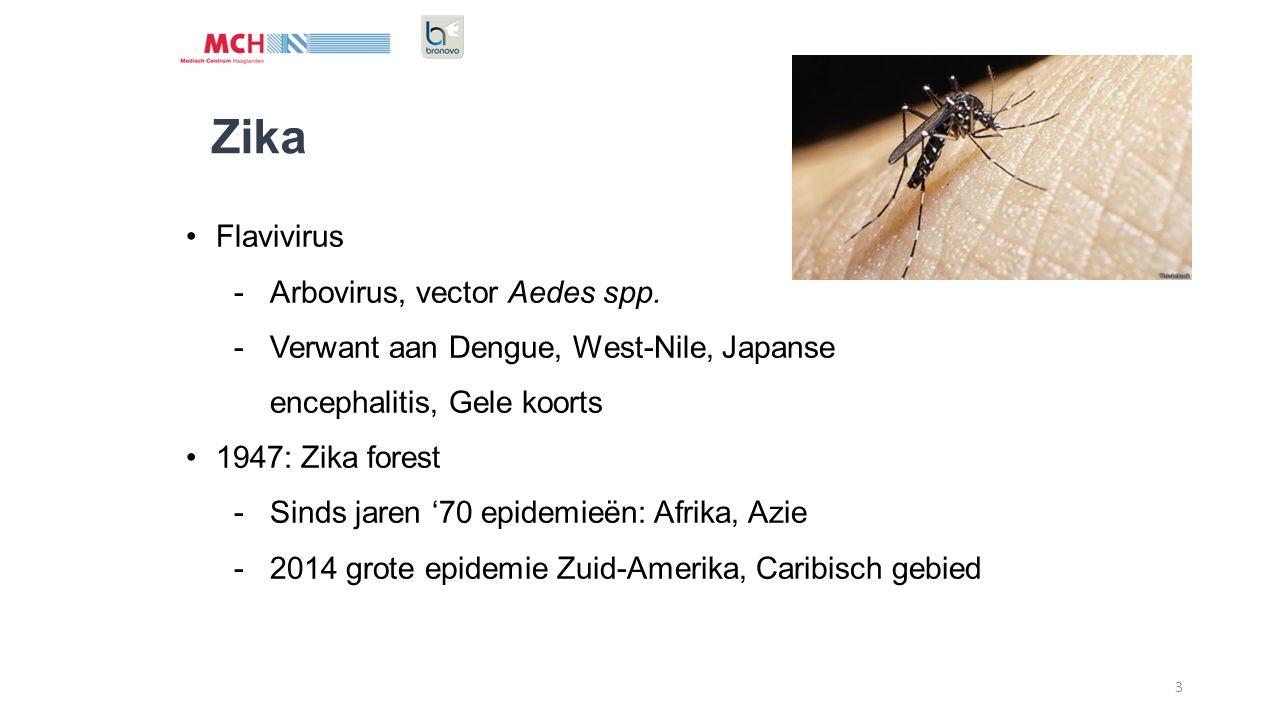 3 Zika Flavivirus -Arbovirus, vector Aedes spp. -Verwant aan Dengue, West-Nile, Japanse encephalitis, Gele koorts 1947: Zika forest -Sinds jaren '70 e