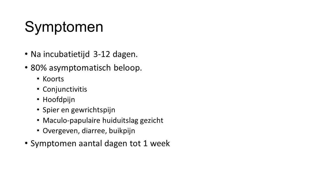 Symptomen Na incubatietijd 3-12 dagen. 80% asymptomatisch beloop. Koorts Conjunctivitis Hoofdpijn Spier en gewrichtspijn Maculo-papulaire huiduitslag