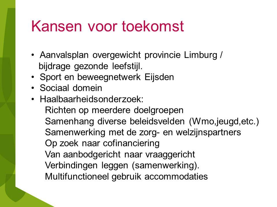 Kansen voor toekomst Aanvalsplan overgewicht provincie Limburg / bijdrage gezonde leefstijl. Sport en beweegnetwerk Eijsden Sociaal domein Haalbaarhei
