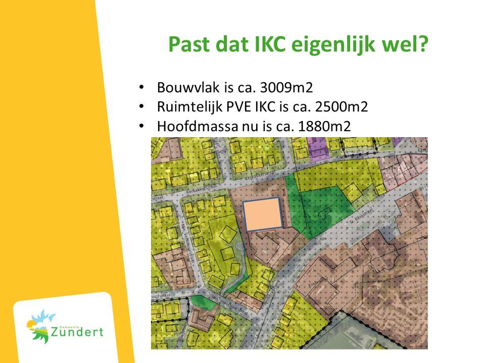 Past dat IKC eigenlijk wel. Bouwvlak is ca. 3009m2 Ruimtelijk PVE IKC is ca.