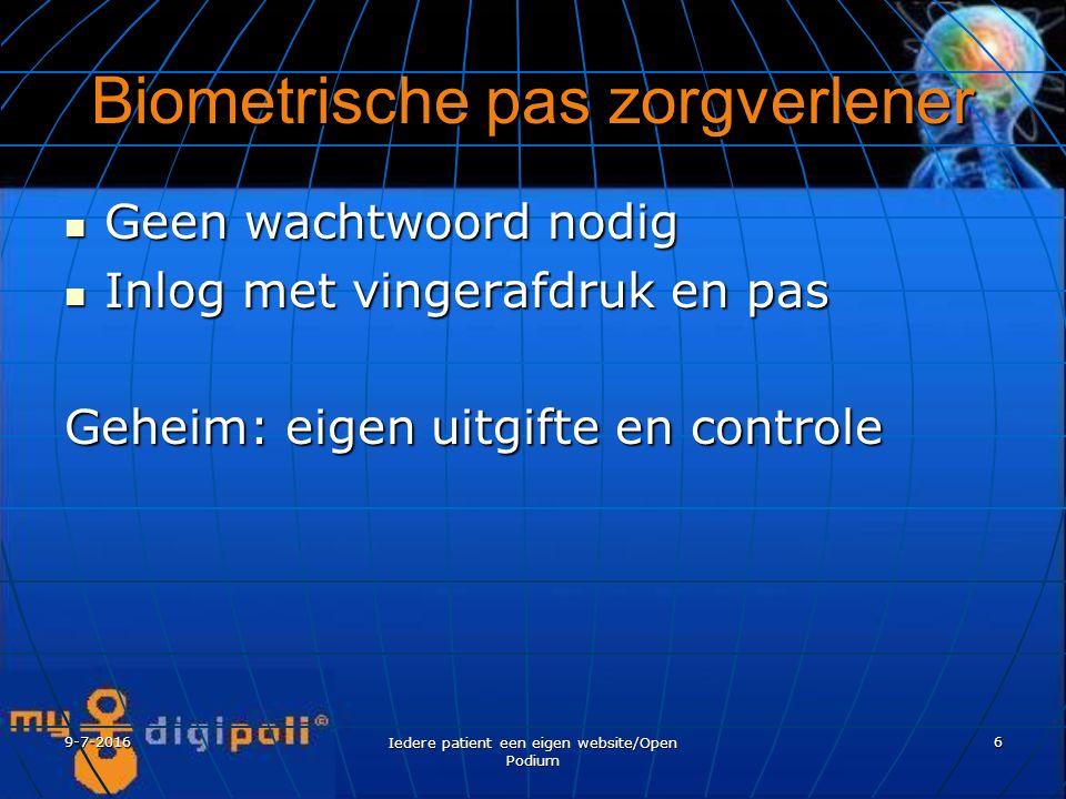 9-7-2016 Iedere patient een eigen website/Open Podium 6 Biometrische pas zorgverlener Geen wachtwoord nodig Geen wachtwoord nodig Inlog met vingerafdruk en pas Inlog met vingerafdruk en pas Geheim: eigen uitgifte en controle