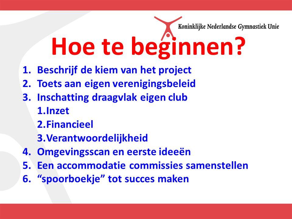 Hoe te beginnen? 1.Beschrijf de kiem van het project 2.Toets aan eigen verenigingsbeleid 3.Inschatting draagvlak eigen club 1.Inzet 2.Financieel 3.Ver