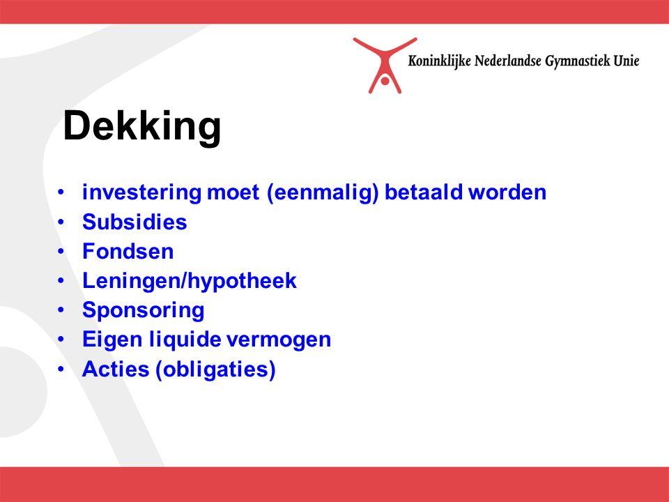 Dekking investering moet (eenmalig) betaald worden Subsidies Fondsen Leningen/hypotheek Sponsoring Eigen liquide vermogen Acties (obligaties)