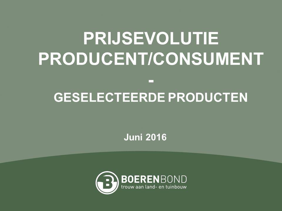 PRIJSEVOLUTIE PRODUCENT/CONSUMENT - GESELECTEERDE PRODUCTEN Juni 2016