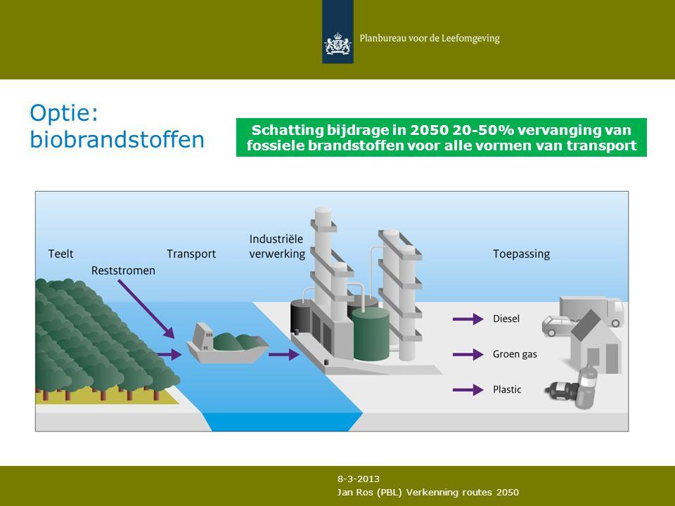 Jan Ros (PBL) Verkenning routes 2050 Schatting bijdrage in 2050 20-50% vervanging van fossiele brandstoffen voor alle vormen van transport Optie: biobrandstoffen 8-3-2013