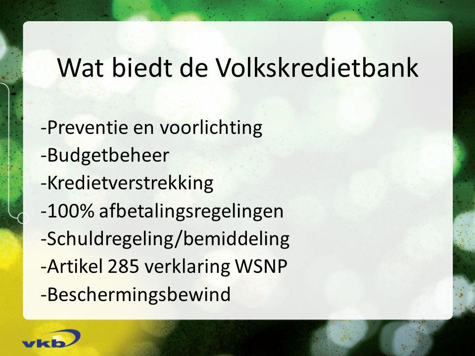 Wat biedt de Volkskredietbank -Preventie en voorlichting -Budgetbeheer -Kredietverstrekking -100% afbetalingsregelingen -Schuldregeling/bemiddeling -Artikel 285 verklaring WSNP -Beschermingsbewind