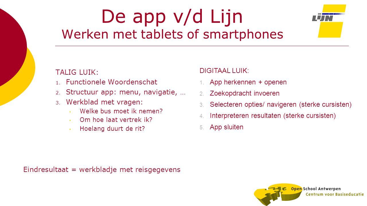 De app v/d Lijn Werken met tablets of smartphones TALIG LUIK: 1. Functionele Woordenschat 2. Structuur app: menu, navigatie, … 3. Werkblad met vragen: