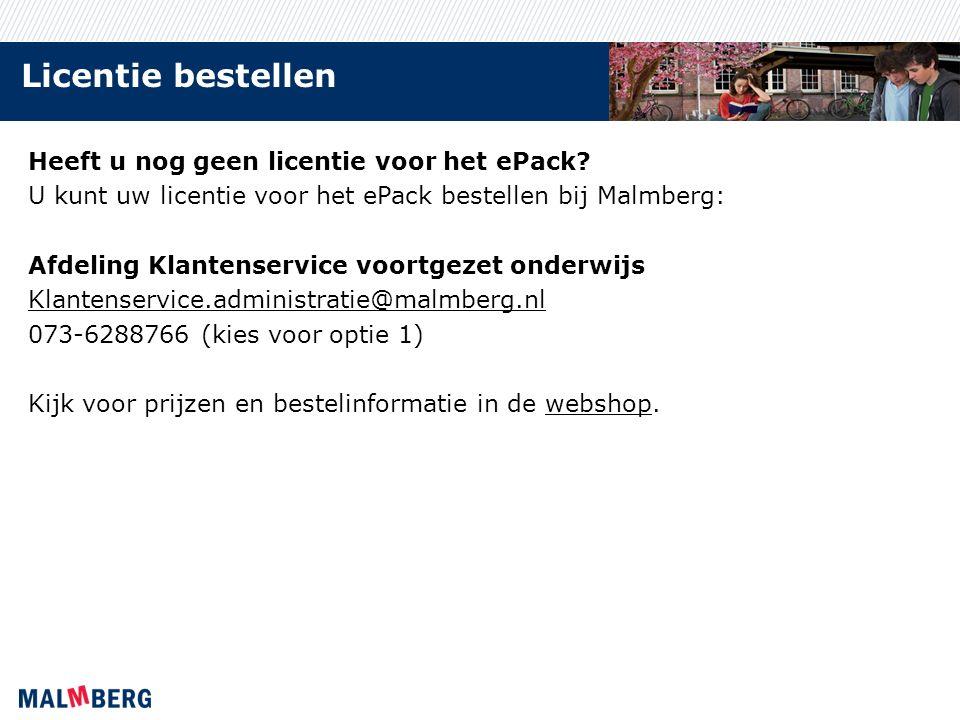 Licentie bestellen Heeft u nog geen licentie voor het ePack.