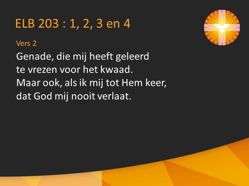 Vers 2 ELB 203 : 1, 2, 3 en 4 Genade, die mij heeft geleerd te vrezen voor het kwaad.