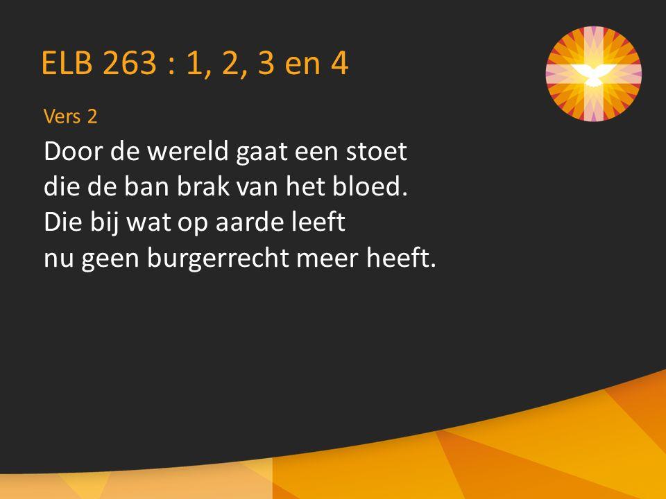 Vers 2 ELB 263 : 1, 2, 3 en 4 Door de wereld gaat een stoet die de ban brak van het bloed.
