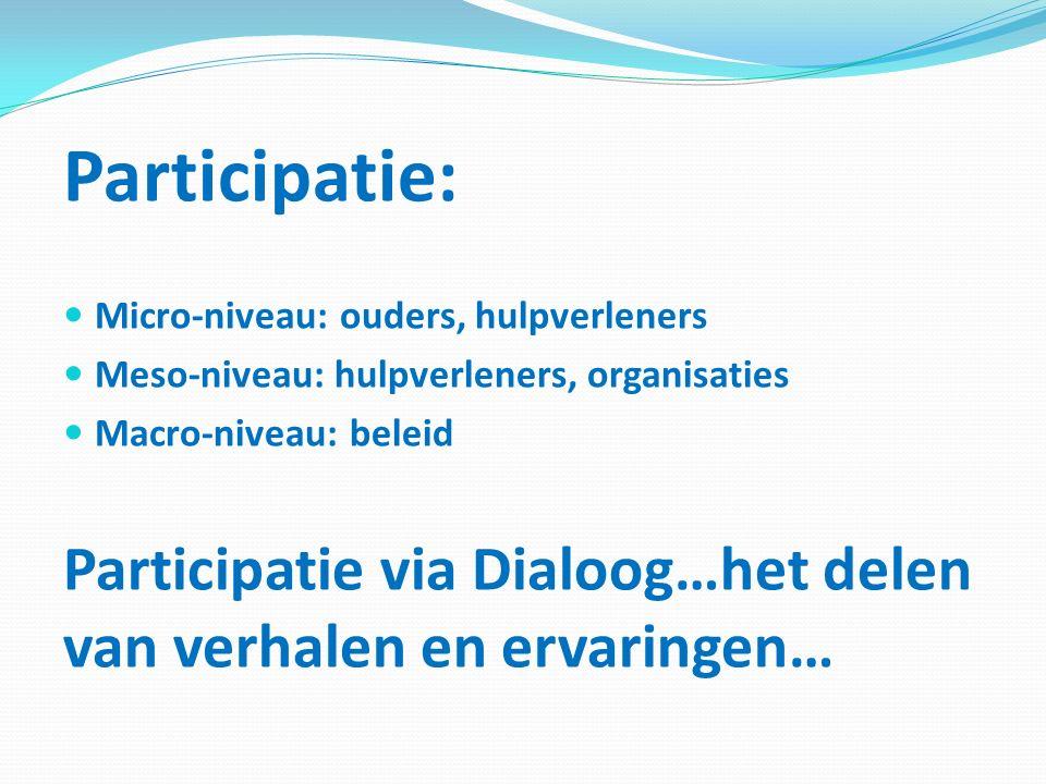 Participatie: Micro-niveau: ouders, hulpverleners Meso-niveau: hulpverleners, organisaties Macro-niveau: beleid Participatie via Dialoog…het delen van verhalen en ervaringen…