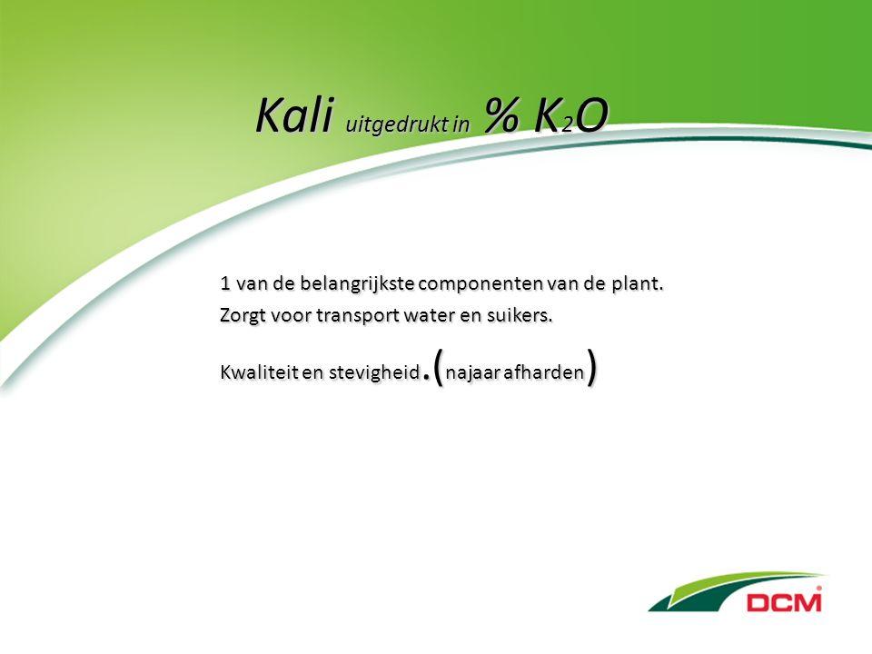 Kali uitgedrukt in % K 2 O 1 van de belangrijkste componenten van de plant.