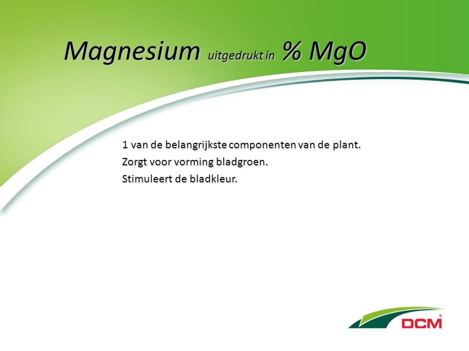 Magnesium uitgedrukt in % MgO 1 van de belangrijkste componenten van de plant.