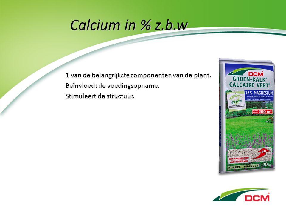 Calcium in % z.b.w 1 van de belangrijkste componenten van de plant.