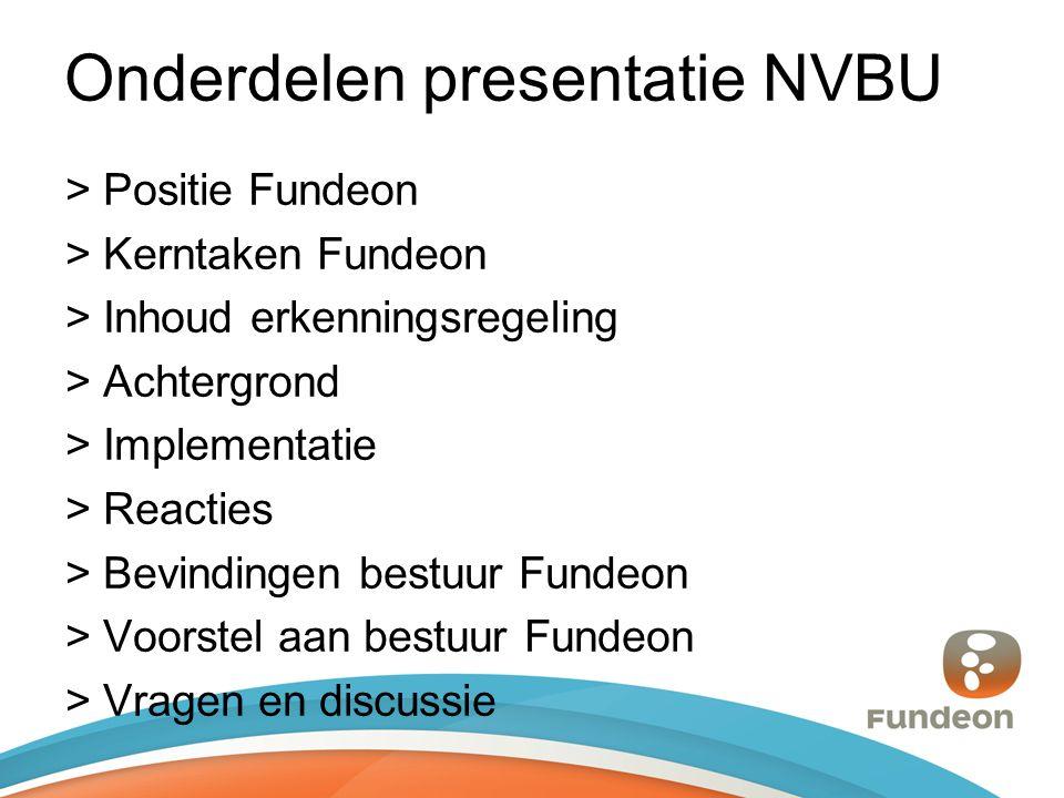 Onderdelen presentatie NVBU > Positie Fundeon > Kerntaken Fundeon > Inhoud erkenningsregeling > Achtergrond > Implementatie > Reacties > Bevindingen bestuur Fundeon > Voorstel aan bestuur Fundeon > Vragen en discussie