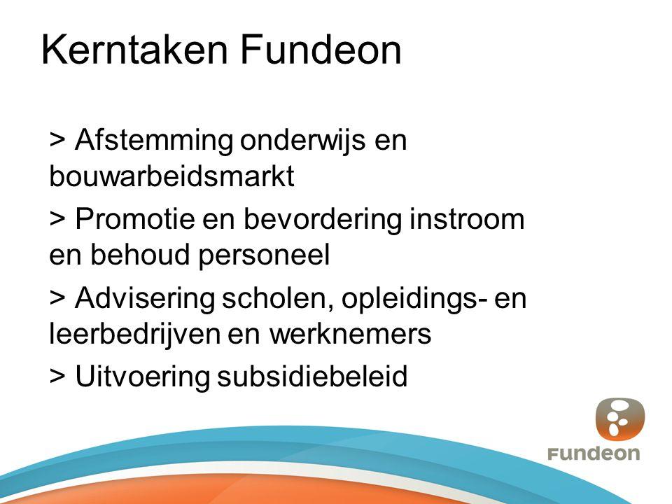 Kerntaken Fundeon > Afstemming onderwijs en bouwarbeidsmarkt > Promotie en bevordering instroom en behoud personeel > Advisering scholen, opleidings- en leerbedrijven en werknemers > Uitvoering subsidiebeleid