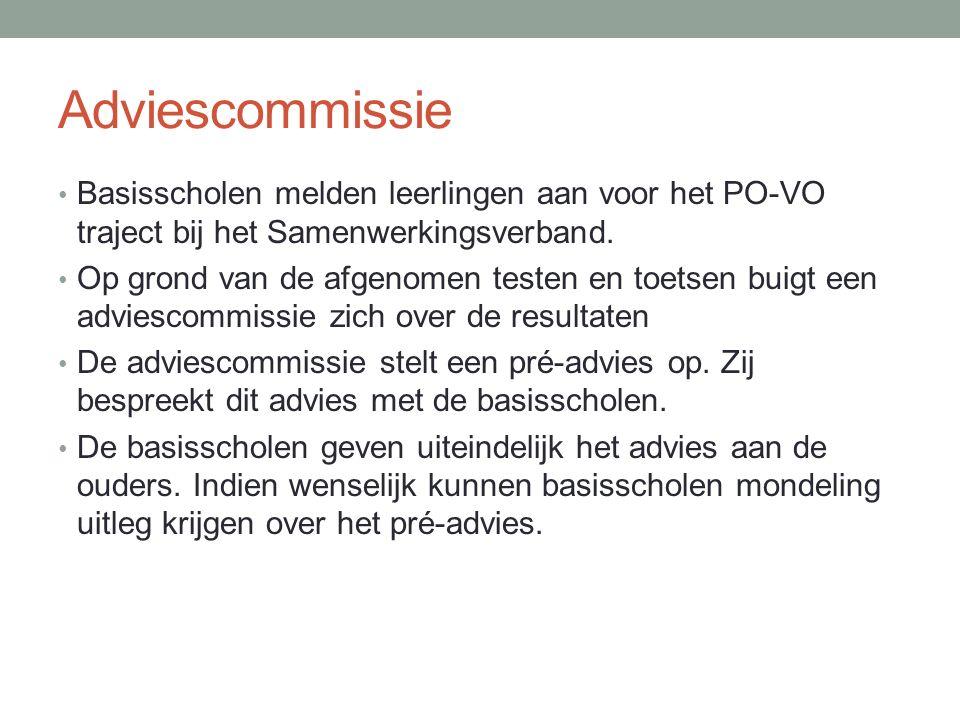 Adviescommissie Basisscholen melden leerlingen aan voor het PO-VO traject bij het Samenwerkingsverband.